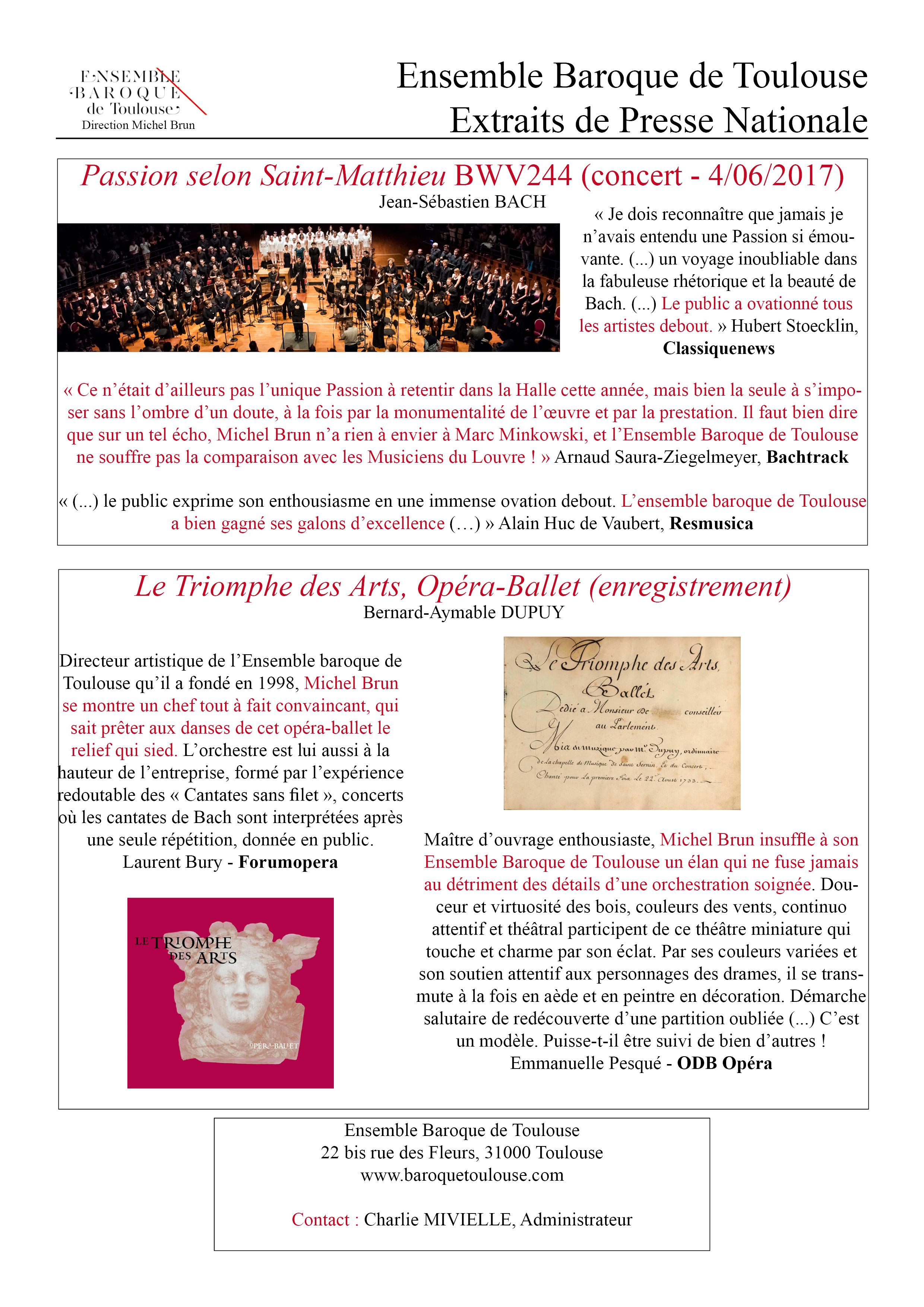 Ensemble Baroque de Toulouse - Presse Nationale